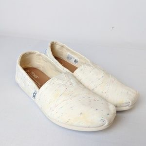 Toms cream speckled classic slip on shoes size 6.5